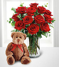 FTD's Dozen Red Roses with Large Bear Bouquet